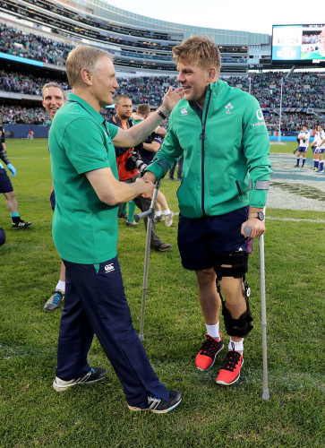 Joe Schmidt and Jordi Murphy celebrate winning