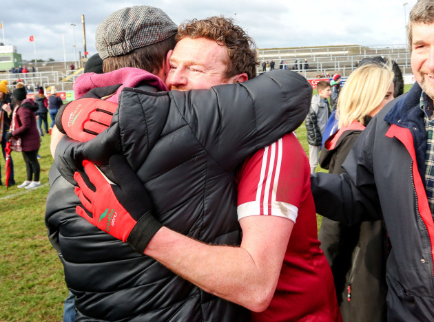 Slaughteil players celebrate their victory over St. Vincent's which takes them to the All Ireland club final