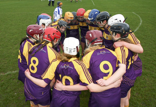 The Wexford team huddle before the game
