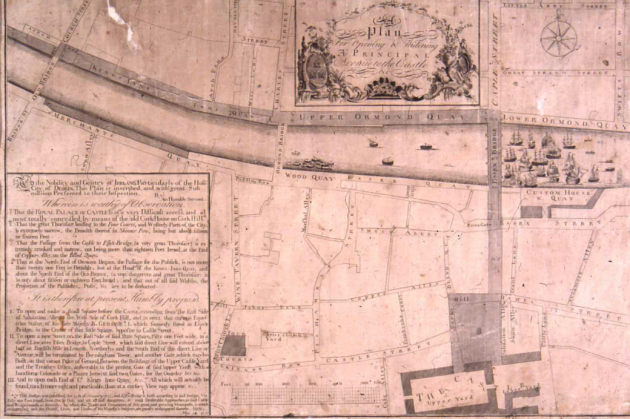 Yearold Map Shows Plans For Avenue To Dublin Castle TheJournalie - Old maps of dublin