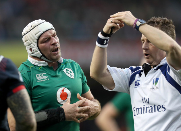 Rory Best speaks with Nigel Owens