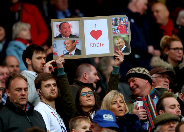 England fans with an Eddie Jones sign