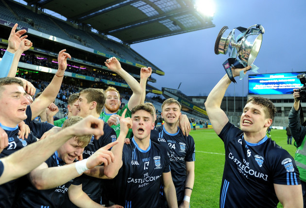 Lee Keegan and his team mates celebrate with the cup