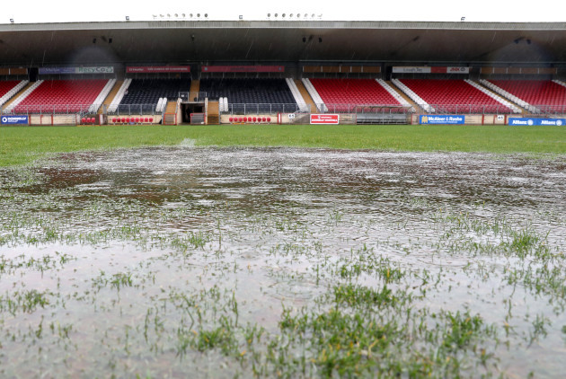 A view of Healy Park after the match was abandoned due to a waterlogged pitch