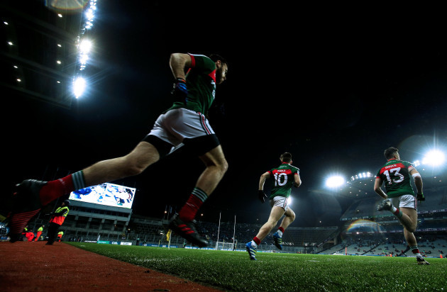 Mayo make their way on to the field