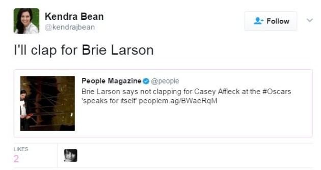 Brie Larson Comments on Not Applauding Casey Affleck at the Oscars