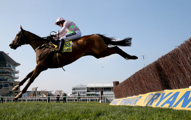 Vautour ridden by Ruby Walsh on the way to winning the Ryanair Chase