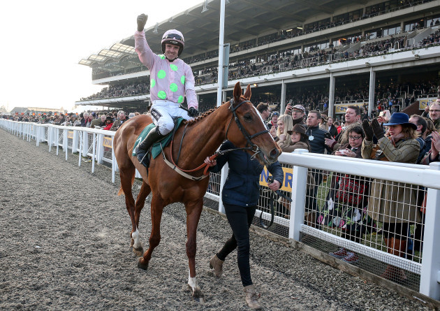 Ruby Walsh celebrates winning the Mares' Novices Hurdle on Limini