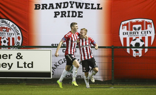 Harry Monaghan and Nicky Low celebrate Nathan Boyle's goal