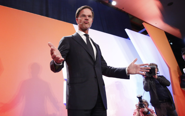 THE NETHERLANDS-THE HAGUE-PARLIAMENTARY ELECTIONS-EXIT POLL-VVD-LEADING-MARK RUTTE