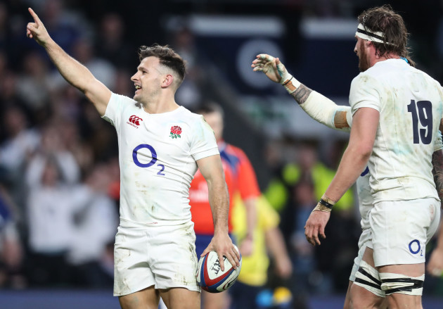 Danny Care celebrates scoring his second try