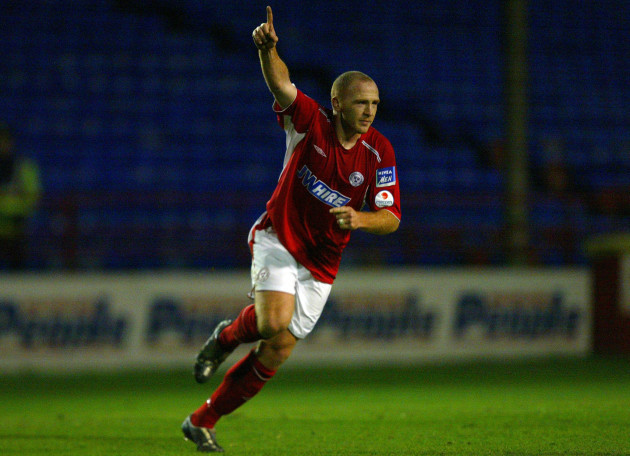Glen Crowe celebrates his goal