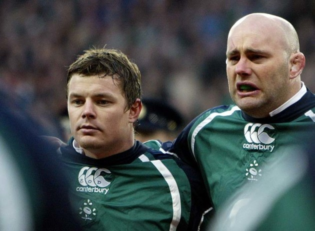 Brian O'Driscoll and John Hayes during the national anthem