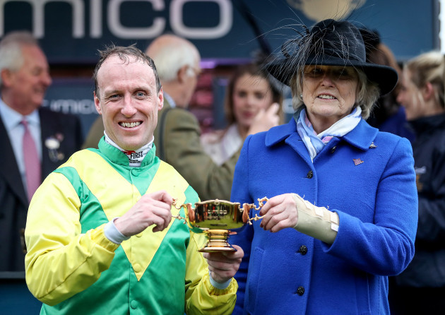 Robbie Power celebrates winning the Gold Cup with owner Jessica Harrington