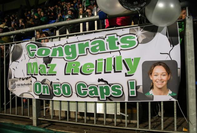 A banner congratulating Ireland's Marie-Louise Reilly on winning her 50th Irish cap