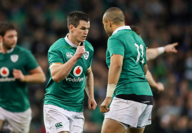 Jonathan Sexton celebrates kicking a penalty with Simon Zebo