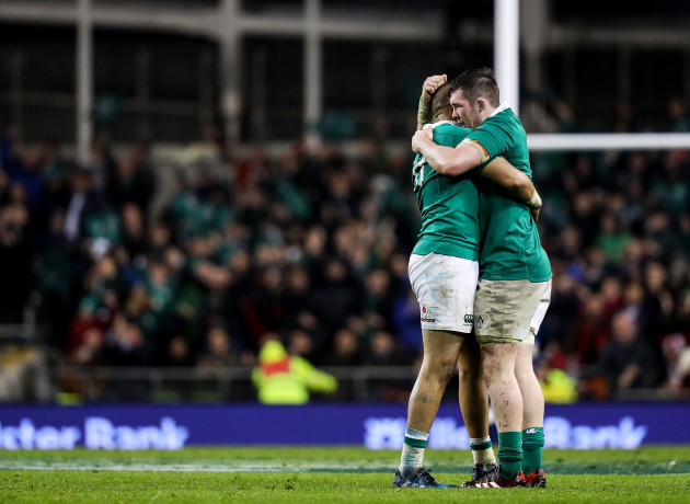 Simon Zebo celebrates at the final whistle with Peter O'Mahony