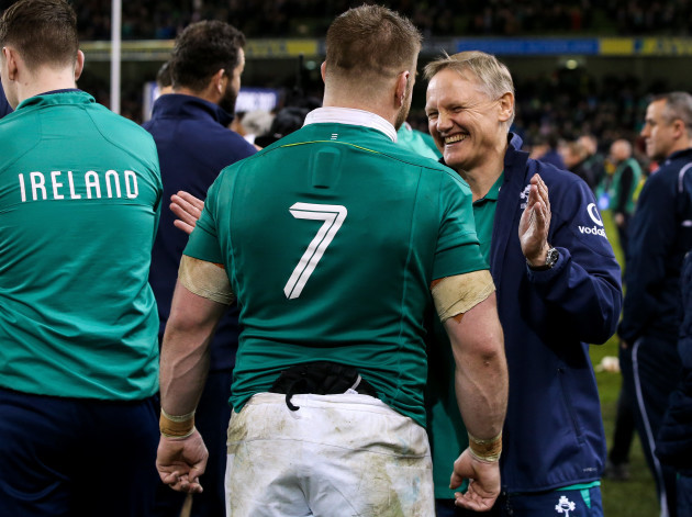 Joe Schmidt celebrates after the game with Sean O'Brien