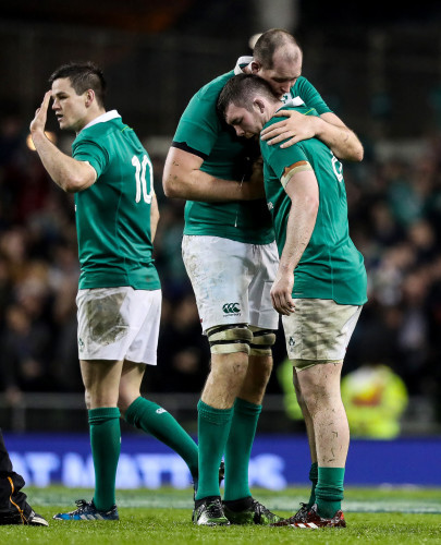 Devin Toner celebrates at the final whistle with Peter O'Mahony