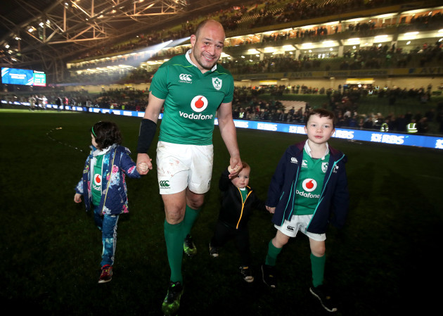 Rory Best celebrates winning with his children