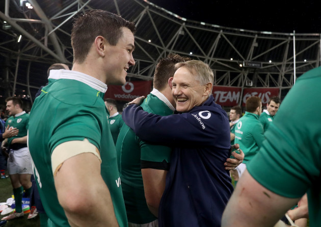 Joe Schmidt celebrates winning with CJ Stander and Jonathan Sexton