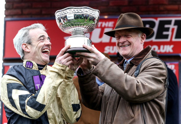Ruby Walsh celebrates with Willie Mullins