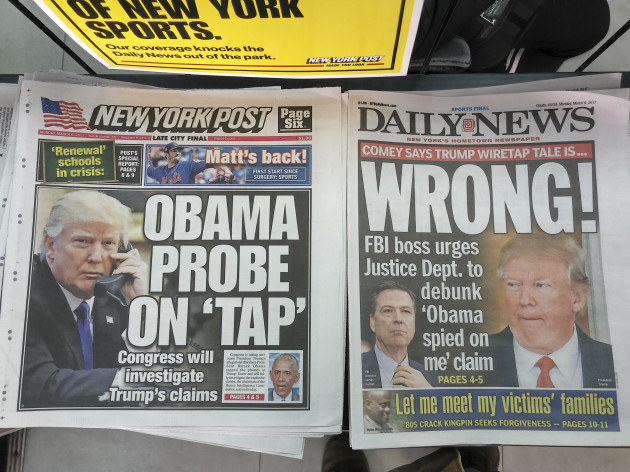 NY: New York papers report on Trump wiretap allegations