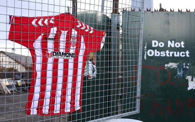 The Derry City number 5 jersey outside The Brandywell Stadium in memory of the late Derry City captain Ryan McBride