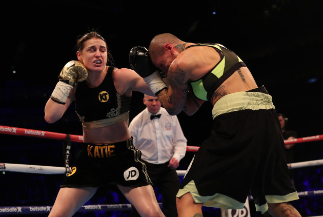 Katie Taylor in action against Monica Gentili