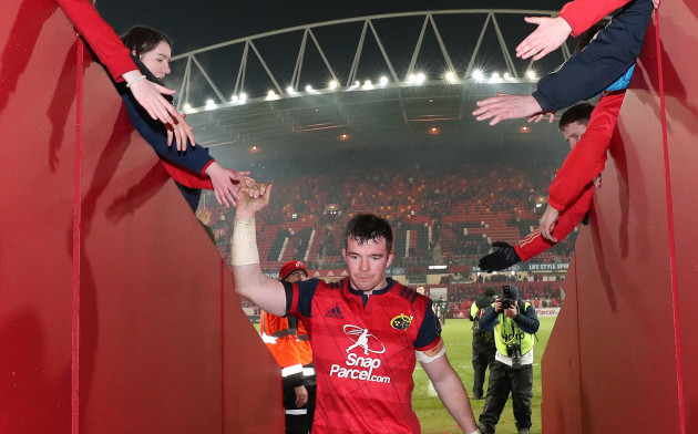 Peter O'Mahony celebrates after the match