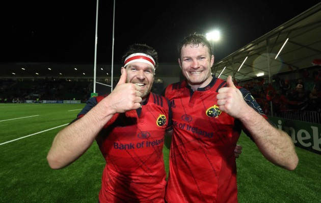 Billy Holland and Donnacha Ryan celebrate after the match