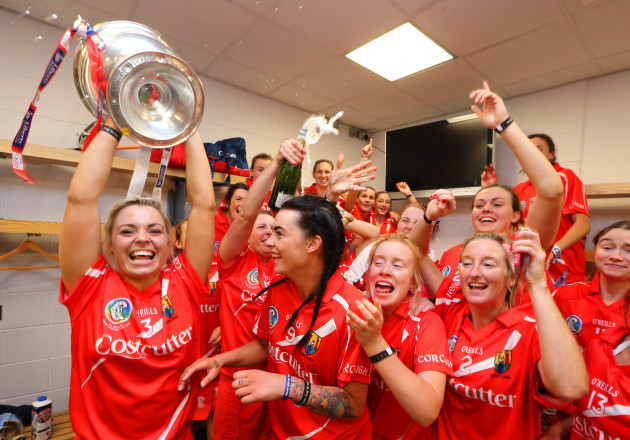 Anna Geary and the Cork players celebrate