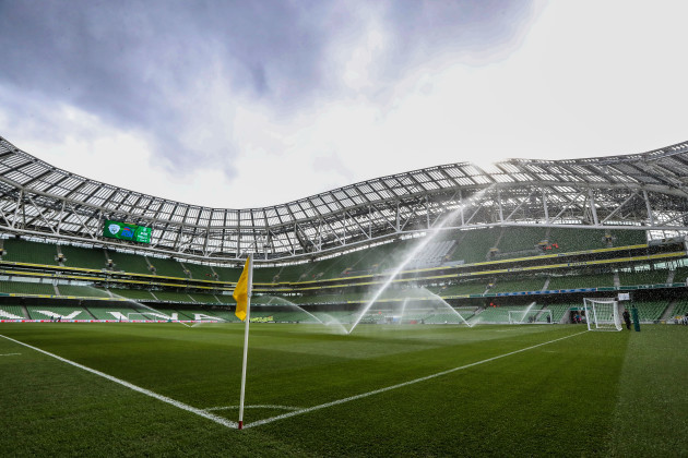 A view of the Aviva Stadium before the game