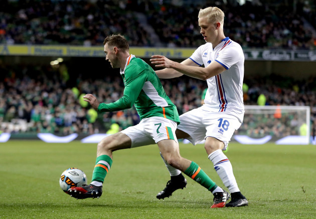Aiden McGeady and Hordur Bjorgvin