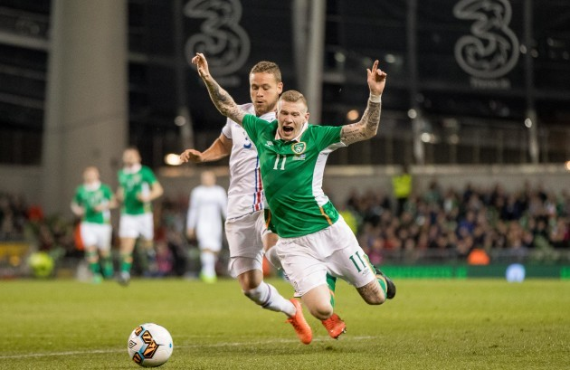 James McClean with Sverrir Ingi Ingason