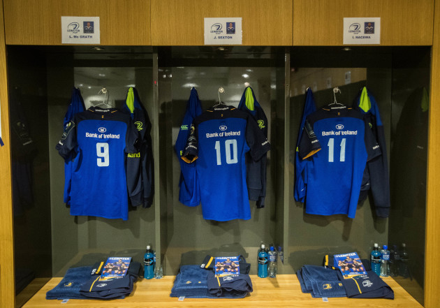 A view inside the Leinster dressing room ahead oft the game