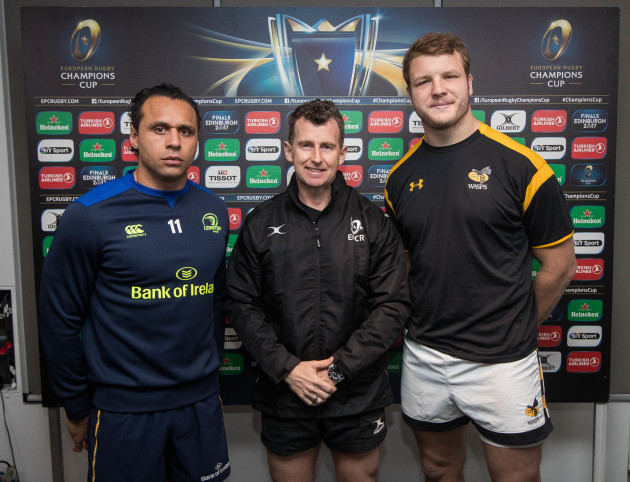 Isa Nacewa and Joe Launchbury with Referee Nigel Owens at the coin toss