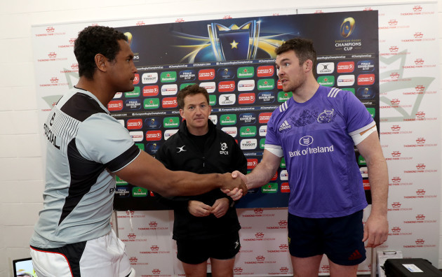 Peter O'Mahony and Thierry Dusautoir with JP Doyle