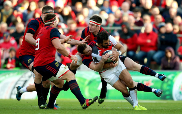 Yoann Huget is tackled by Billy Holland and Rory Scannell