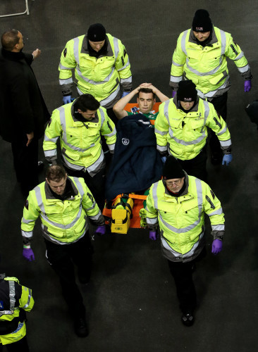 Seamus Coleman is carried off the field