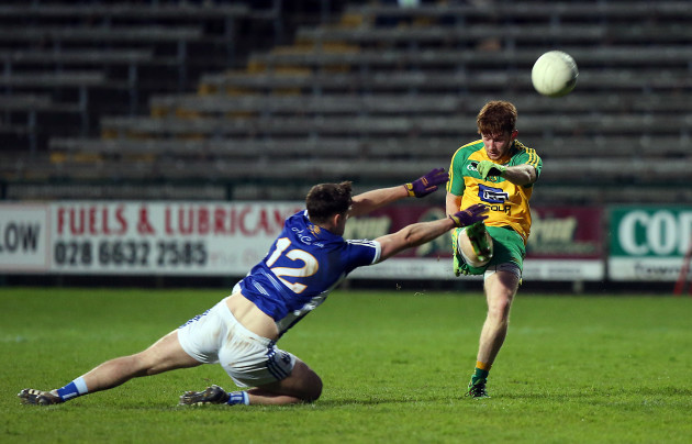 Donegal's Lorcan Connor with Matthew McKenna of Cavan