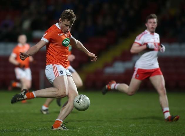 Armagh's Oisin O'Neill scores a goal