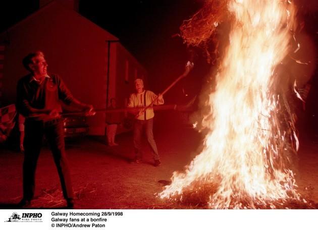 Galway fans at a bonfire 28/9/1998