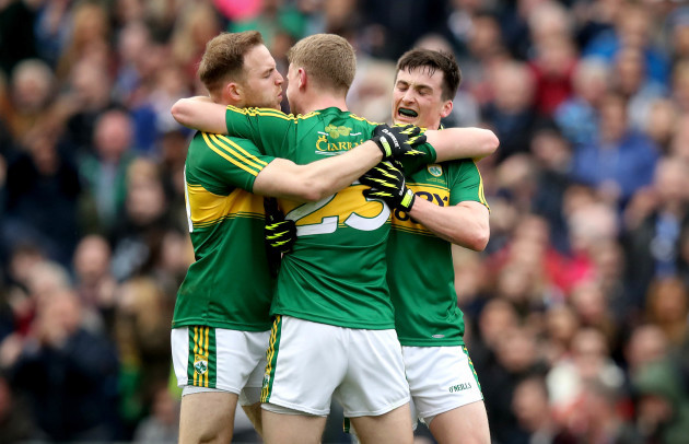 Darran O'Sullivan, Paul Murphy and Gavin Crowley celebrate at the final whistle