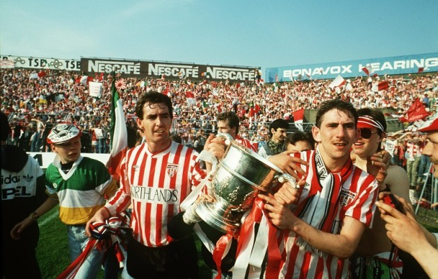 Noel Larkin and Paul Carlyle of Derry City with the FAI cup in 1989 23/2/2010