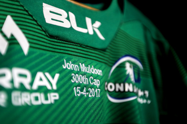 A view of John Muldoon's match jersey marking his 300th Connacht appearance