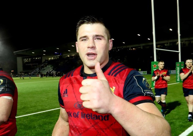 Munster's CJ Stander  celebrates after the match