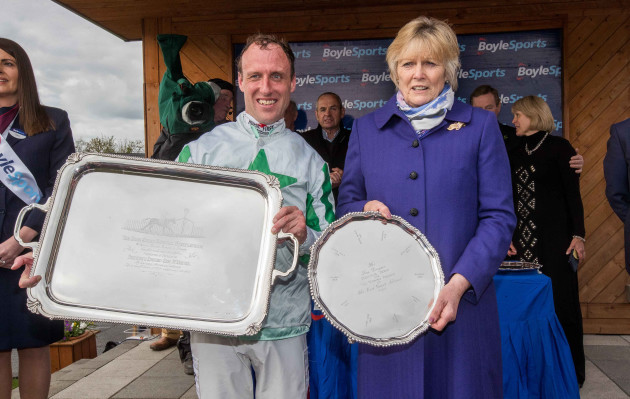 Robbie Power celebrates winning the Boylesports Irish Grand National on Our Duke with Jessica Harrington