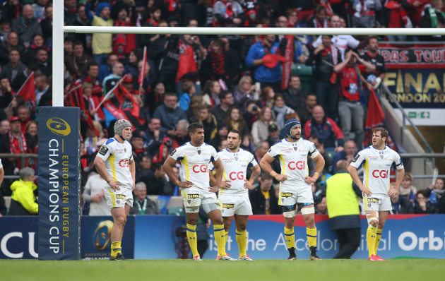 Disappointed Clermont Auvergne players Jonathan Davies Wesley Fofana Ludovic Radoslavjevic Julien Pierre and Camille Lopez