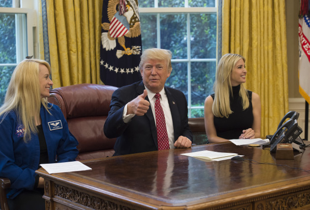 DC: President Trump hosts a video conference with NASA astronauts aboard the International Space Station